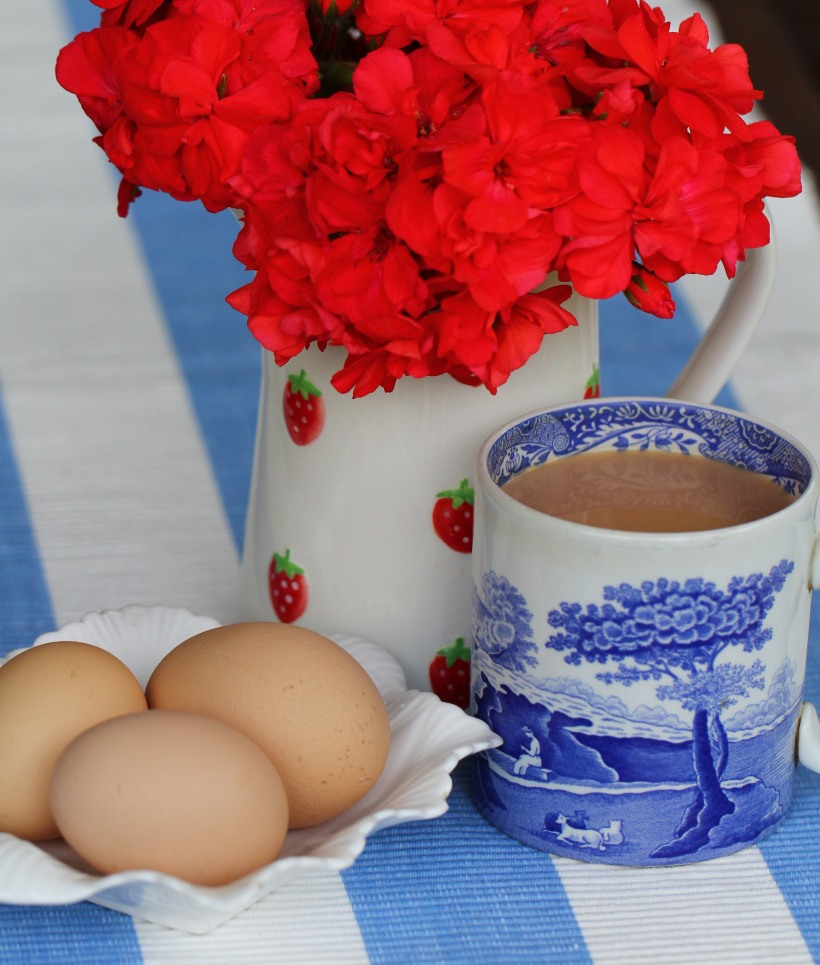 geraniums,eggs,tea-Lilibet Stanley
