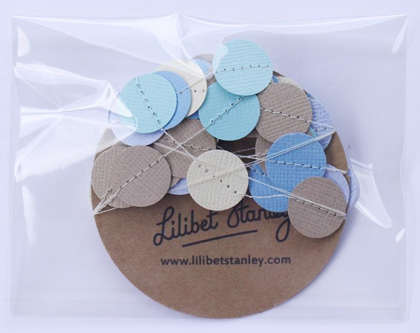 aqua blue cream beige spot bunting-Lilibet Stanley
