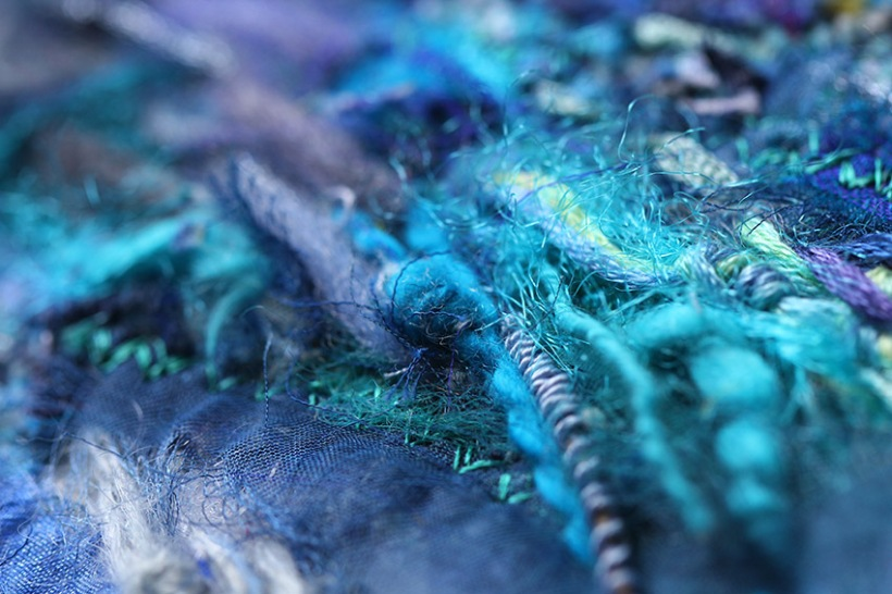 close up of wave embroidery-Lilibet Stanley