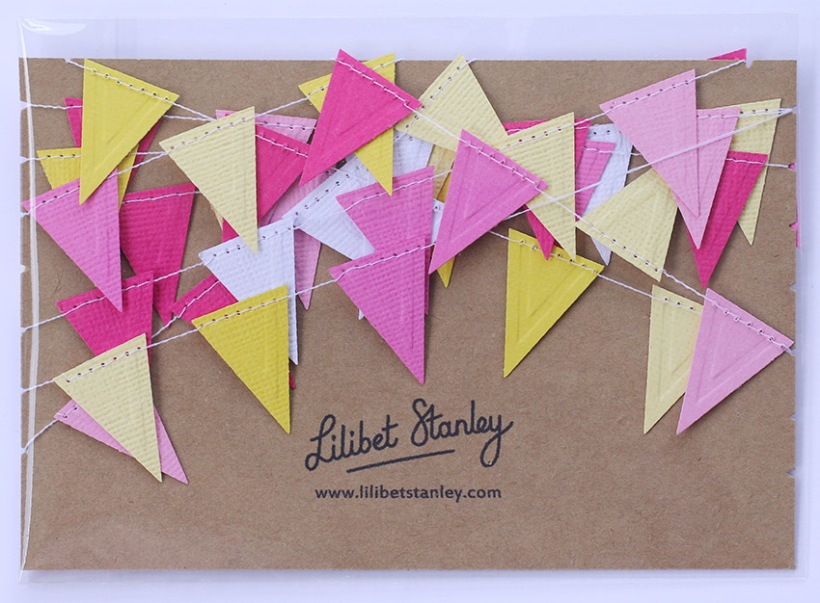 pink and yellow triangle bunting-Lilibet Stanley
