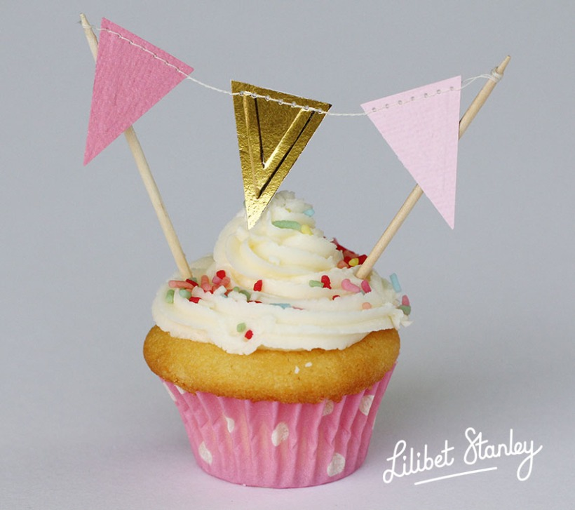pink bunting cake topper1 -Lilibet Stanley
